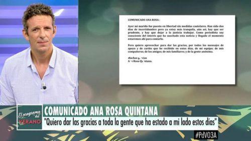 Comunicado oficial de Ana Rosa Quintana tras la detención de su marido